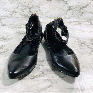 BCBG Black Ankle Strap Flats Size 7